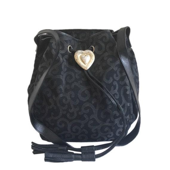 91ed2eddc5b8 YVES SAINT LAURENT Black Arabesque Prints Bucket Shoulder Bag