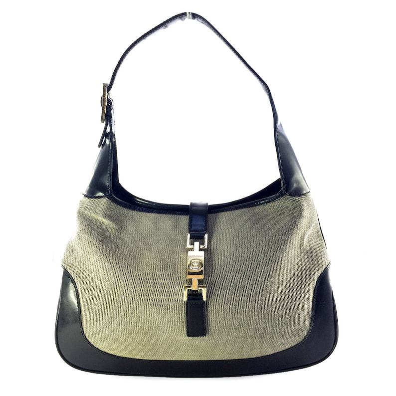 4805ed53733 GUCCI Vintage Jackie O Gray and Black Canvas Leather Shoulder