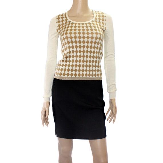 Prada Brown Beige Argyle Wool Sweater Top
