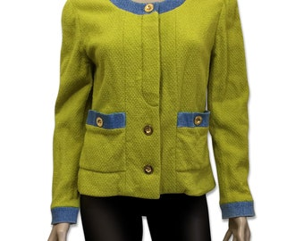CHANEL Boutique Vintage Yellow Green Tweed Jacket