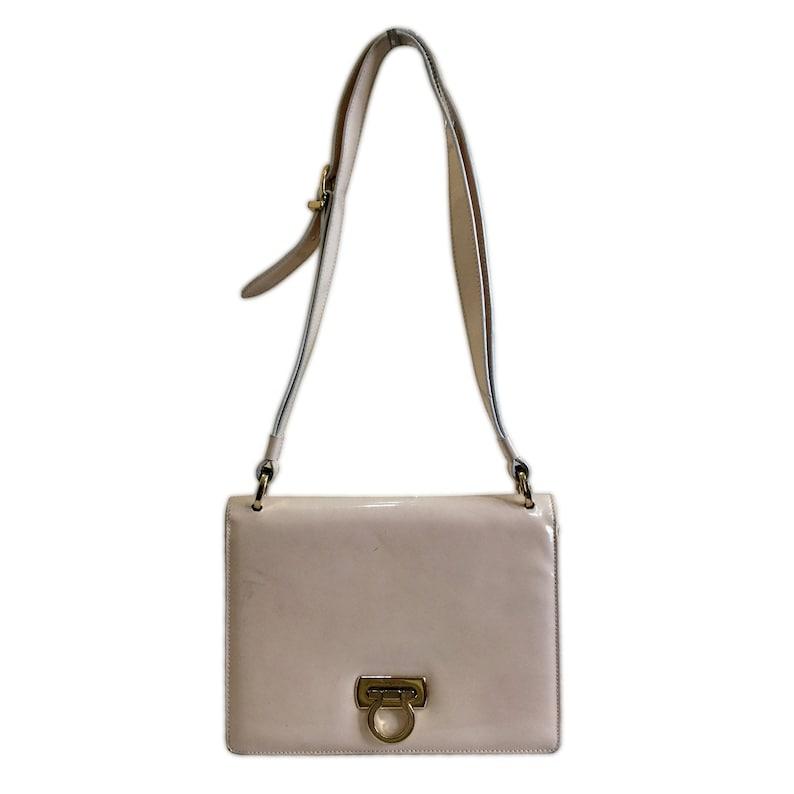SALVATORE FERRAGAMO Vintage Nude Patent Leather Shoulder Bag  c19b5d154704e