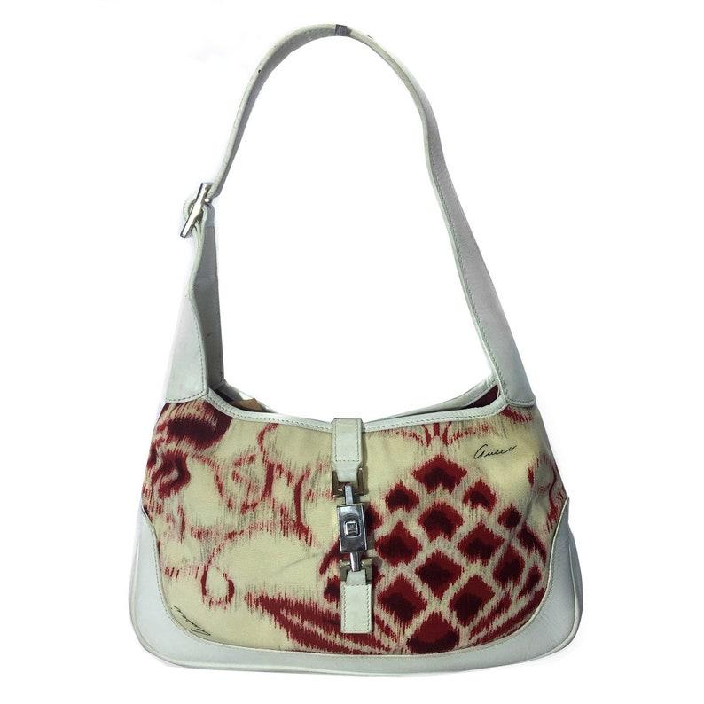 bc054b50eb GUCCI Vintage Jackie O Red & White Printed Shoulder Bag | Etsy