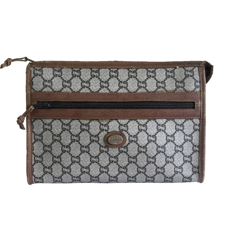 45ba6101179 GUCCI Plus Vintage Beige   Brown GG Monogram Clutch Bag