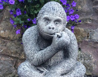 Large stone Gorilla Monkey Ape Chimp Garden Ornament Statue Jungle Animal