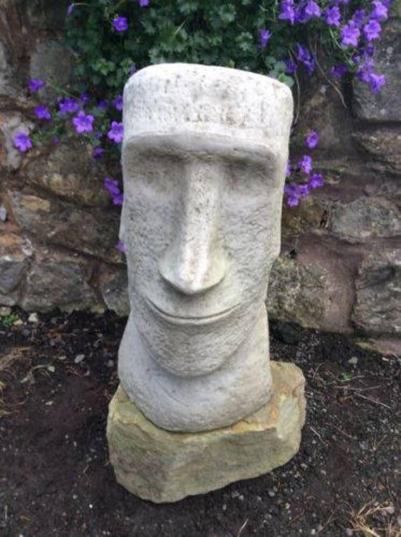 Large Stone Easter Island Head Moai Tiki Garden Ornament