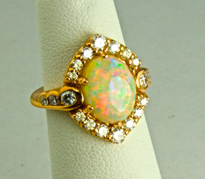 10K Solid Gold or S.S.Top Gem Grade Solid White opal with optional matching Wedding Band 14K Opal /& Diamond Halo Ring  Wedding Band set