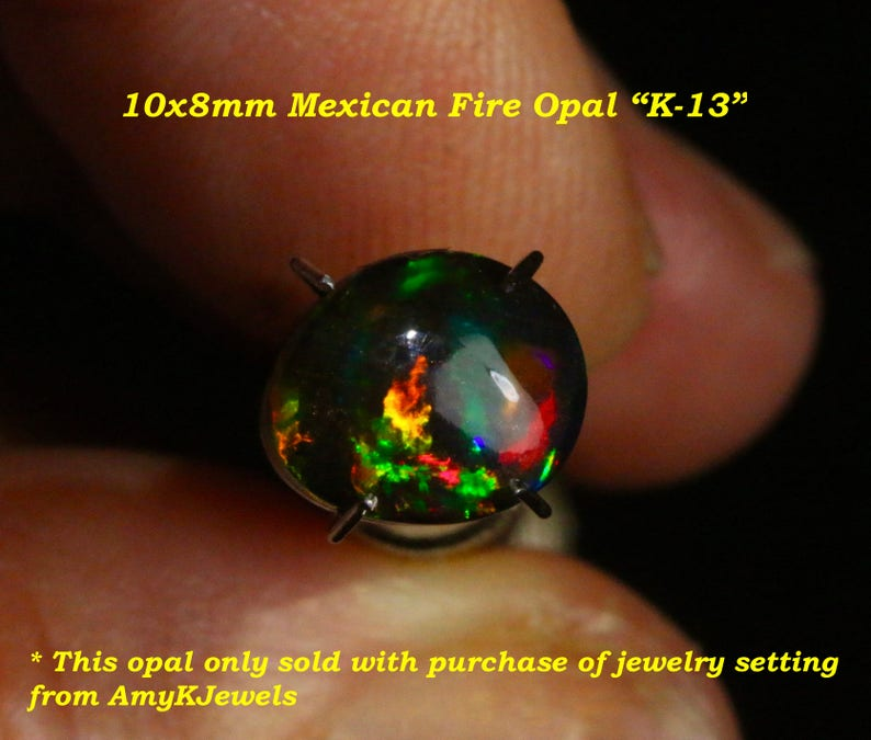 *Only sold with purchase of opal ring setting from AmyKJewels Australian Solid Black Opals on VIDEO Black opal collection 10X8mm.VIDEO K