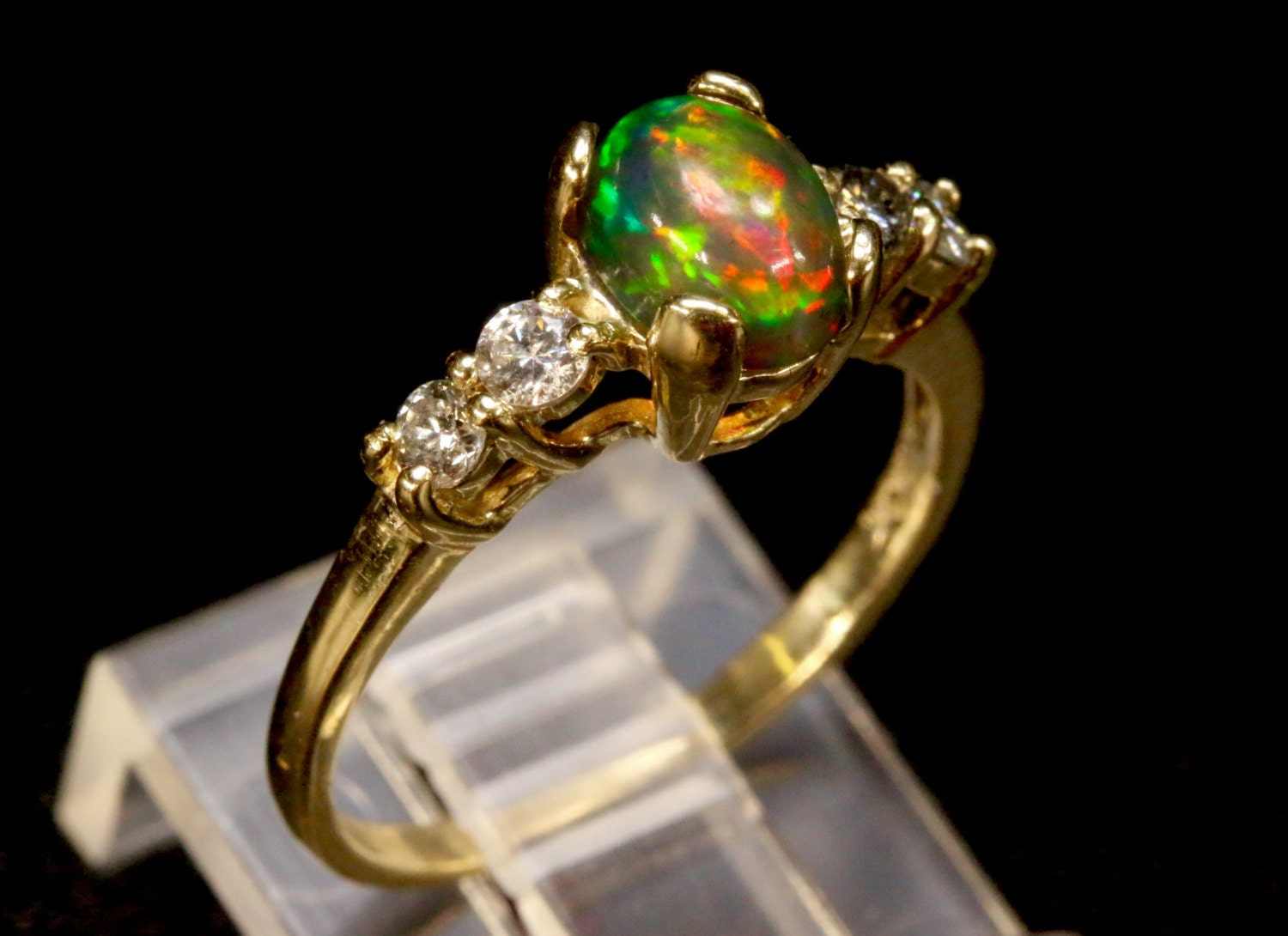 black opal diamond engagement ring yellow white rose. Black Bedroom Furniture Sets. Home Design Ideas