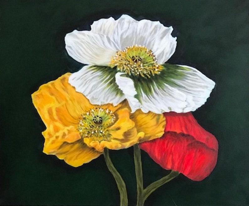Peintures Sur Toile Paysage Peinture Acrylique Fleurs Etsy