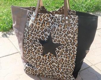d952f0151f sac cabas handmade made in france léopard/noir/taupe avec anses cuir camel  et étoiles