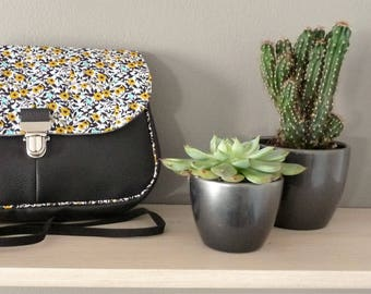 shoulder bag black leather and libertystyle pepper grey/yellow mustard clip satchel messenger