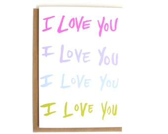 I Love You Valentine Card   Cute Romantic Card   Just Because   Anniversary Card   Simple Love Card