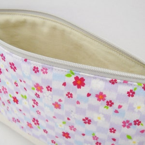 Blue Zipper pouch Pink Japanese makeup bag Black Little cherry blossom Pencil case Red Ivory White