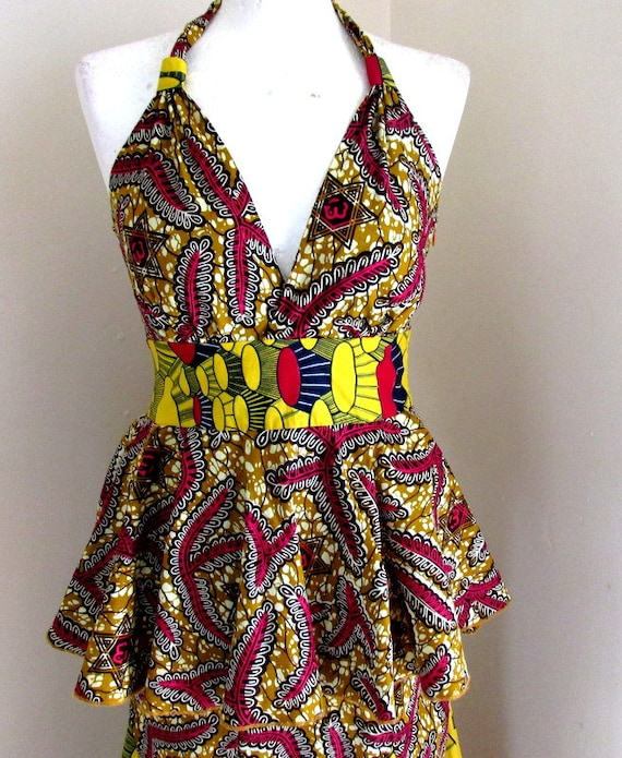 measurements African wedding outfit for wax Africa DESCRIPTION dress peplum Ankara halter see traditional summer maxi RZB1qp
