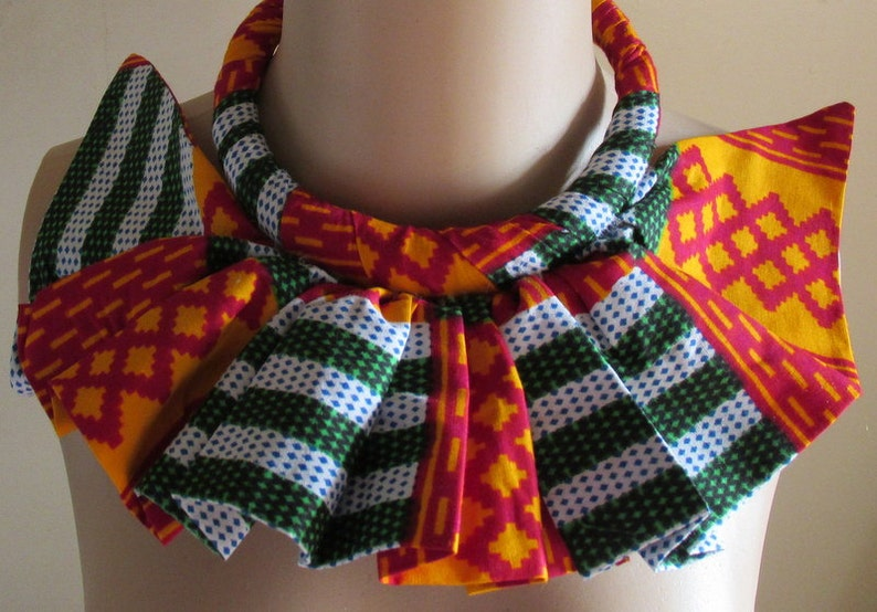 African Kente PRINT wax fabric cover ruffle bib Africa Nubian queen necklace UK SELLER.