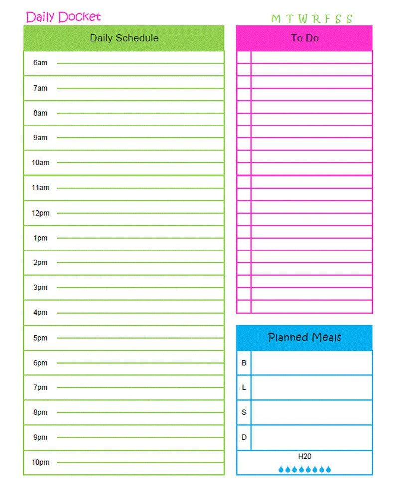 photo relating to Daily Docket Printable referred to as Printable Day-to-day Docket