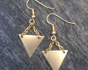 brass triangle earrings, brass tribal earrings, geometric earrings, triangle drop earrings, triangle dangle earrings, tribal earrings