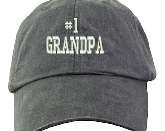 6257dff988200 Number 1 Grandpa Baseball Hat - Embroidered.  1 Grandpa Baseball Cap. New Grandpa  Hat. Best Grandpa Hat. Awesome Grandpa Hat. LP101