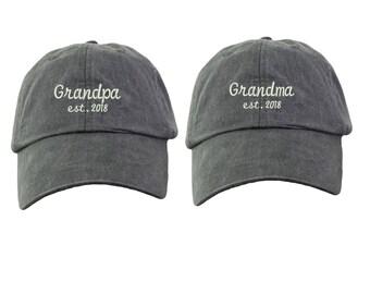 Grandpa And Grandma Est. 2018-1 Embroidered Cap Baseball Hats. Grandpa and  Grandma Gifts. New Grandparents Gifts . HER-LP101 9d3afaa72543