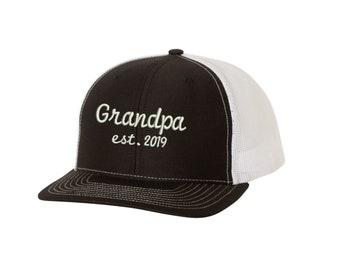 Grandpa Est. 2019 Trucker Hat - Embroidered. Grandpa Hat Any Year. New  Grandpa Snapback Trucker Hat. Going To Be A Grandpa Gift. SS-112 59f53196fd52