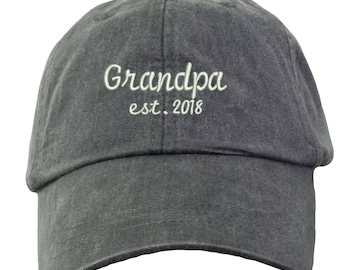 Grandpa Est. 2018-1 Embroidered Cap Baseball Hat. Grandpa Hat Any Year.  Adjustable Leather Strap. 15 Colors Avail. HER-LP101 da3b1a3b554