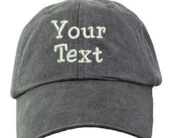 cdaa831809005 Personalized Custom Baseball Hat. Custom Text Baseball Hat. Your Text Here  Hat. Embroidered Custom Hat. Custom Text Cap. LP101