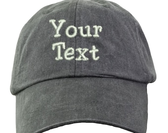 bec9b3c694b Personalized Custom Baseball Hat. Custom Text Baseball Hat. Your Text Here  Hat. Embroidered Custom Hat. Custom Text Cap. LP101