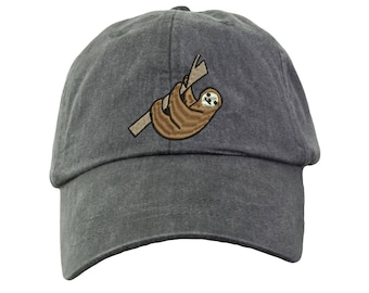 Sloth Embroidered Baseball Hat. Sloth Baseball Cap. Funny Sloth Gifts.  Sloth Beach Hat. Cool Mesh Lining   Adjustable Strap. HER-LP101 70c5a8aed03