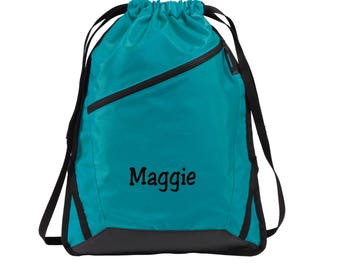 e817f7d829b716 Personalized Drawstring Backpack - Embroidered. Custom Name Drawstring  Backpack Bag. Personalized Gifts. SM- BG616.