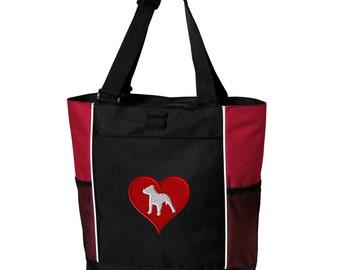 9e39fe47ff77 Love Heart Pitbull Zippered Tote Bag - Monogrammed. Embroidered Pitbull  Tote Bag. Pitbull Bag. Pitbull Gift. Pitbull Mom Gift. SM-B5160