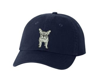 e152bf5f9a3 French Bulldog Breed Embroidered Hat Unisex Embroidered Hat Baseball Cap.  Adjustable With Tri-Glide Buckle. 36 Colors. VC300A