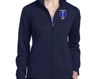 Why Not Stop N Shop Personalized EMT Paramedic Full Zip Microfleece Jacket with Pockets EMS