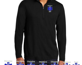 1ST Responder Work Shirt Quarter Zip Personalized FREE your name and logo