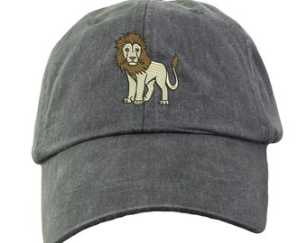 340c385bb3c Lion Hat - Embroidered. Lion Cap. Zoo Jungle Animal Hat. King Of The Jungle  Hat. Adjustable Leather Strap. More Colors. HER-LP101