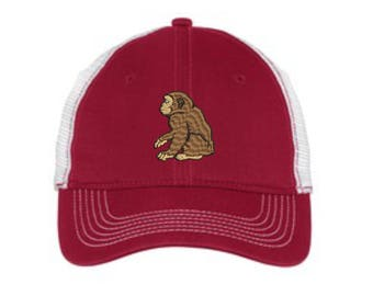 Chimpanzee Embroidered Mesh Back Hat.  Mesh Back  Embroidered Hat .  Embroidered Baseball Hat  Trucker Hat. DT607