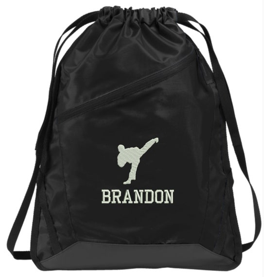 BG616 Karate Taekwondo Gift Embroidered Personalized Karate Taekwondo Drawstring Backpack Bag Custom Karate Taekwondo Backpack