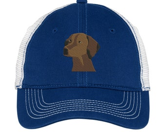 Vizsla Monogrammed Mesh Back Hat.   -  Mesh Back. Baseball Hat - Mesh Back.  Vizsla Dog Trucker Hat. Trucker Hat. DT607