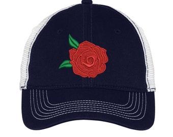 Rose Mesh Back Hat.   - Mesh Back.  Embroidered Rose Baseball Hat - Mesh Back.  Embroidered Rose Trucker Hat. Trucker Hat. DT607
