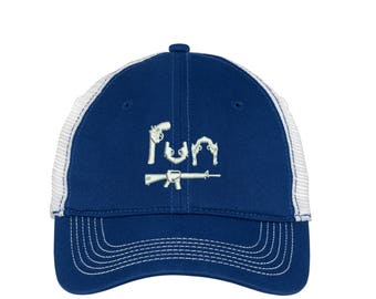 Fun Guns Mesh Back Hat.   - Baseball Mesh Back. Embroidered Fun Guns Trucker Hat. Trucker Hat. DT607