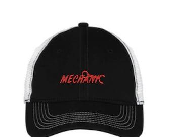 Mechanic Mesh Back Hat.   - Baseball Mesh Back. Mechanic Embroidered Trucker Hat. Trucker Hat. DT607