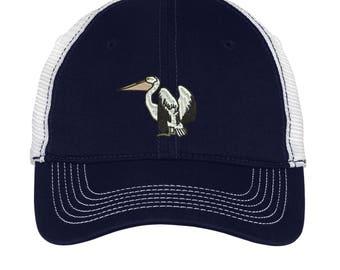 Pelican Embroidered Mesh Back Hat.  Mesh Back  Embroidered Hat .  Embroidered Baseball Hat  Trucker Hat. DT607