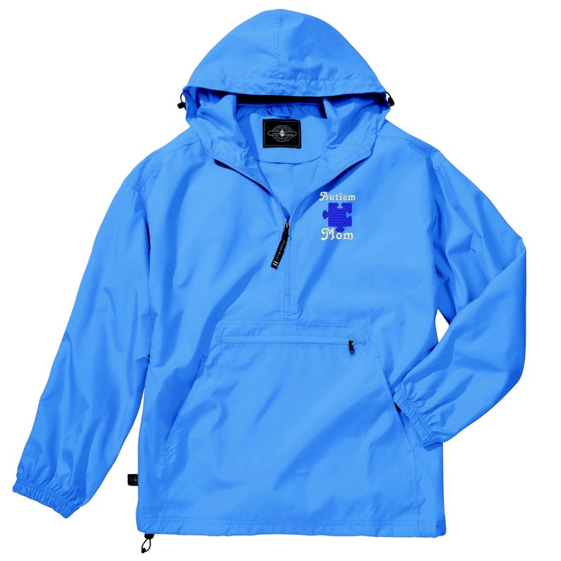 Autism Mom Light Weight Pullover Rain Jacket Autism Mom Gift CR: 9904 Charles River Pack-N-Go Pullover Embroidered Autism Mom Jacket