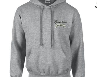 Grandma Est. 2017-1 Embroidered Hooded Sweatshirt. Established 2017 Embroidered Hoodie. 18500 4Vg78