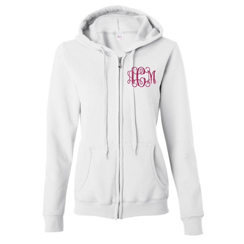 1a077c9fac0 Monogrammed Full Zip Hoodie for Women and Men Unisex Sizing