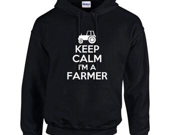Keep Calm I'm A Farmer Mens Hoodie