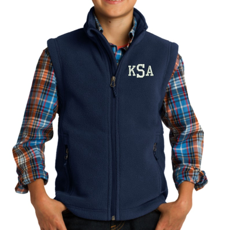 Monogram Kids Fleece Vest  Embroidered.  Monogrammed Youth image 1