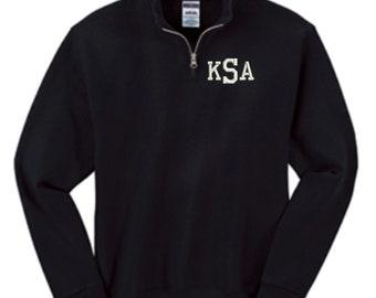 Kids Monogrammed Quarter Zip Pullover Sweatshirt - Embroidered. Monogrammed Youth Quarter Zip Sweatshirt. Boys Girls Sweatshirt. 995Y