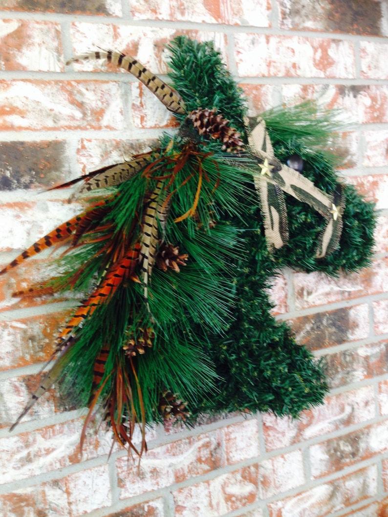 Hunter Derby Horse Head Wreath  KENTUCKY DERBY Horse Wreath rustic Burlap Camoflauge Pheasant Feather