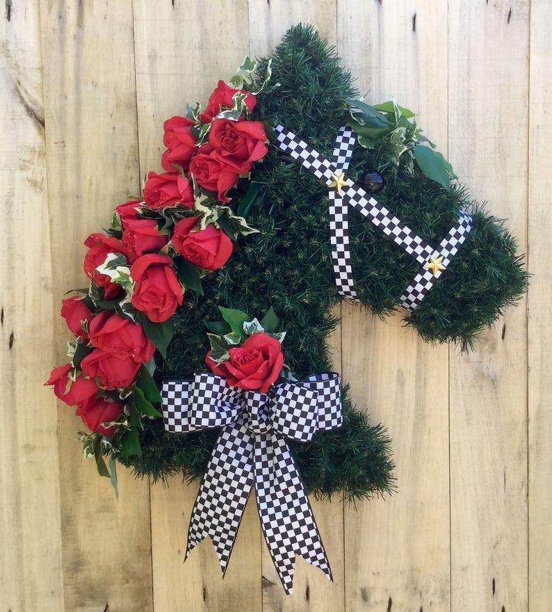 Door Hanger Kentucky Derby Jockey Silk Horse Head Wreath Etsy