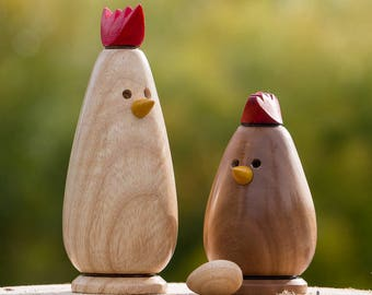 Hand-turned Wooden Chickens